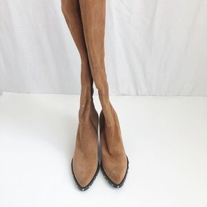 Guess Karlow brown pointed toe studded suede boots